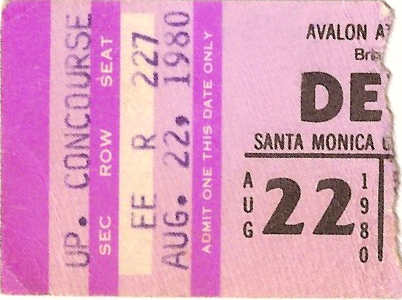 Devo ticket 1980 tour