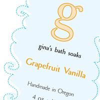 Ginas bath soaks packaging