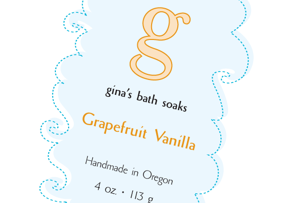 Gina's Bath Soaks label close-up