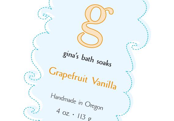 Gina's Bath Soaks label close-up