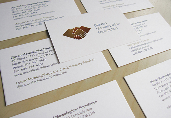 Djavad Mowafaghian Foundation new business cards