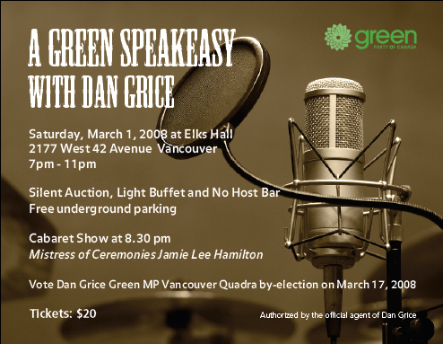 Green Party speakeasy flyer