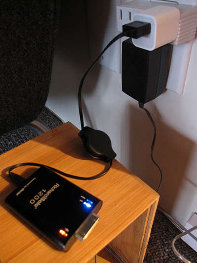 Richard Solo battery packs showing Apple charger