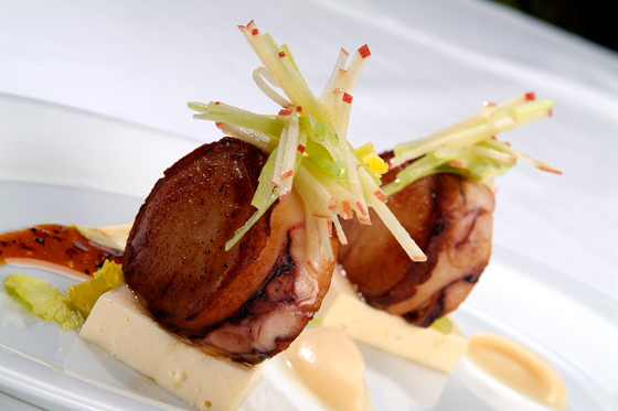 Octopus bacon-wrapped scallop canape