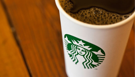 New Starbucks logo on coffee cup