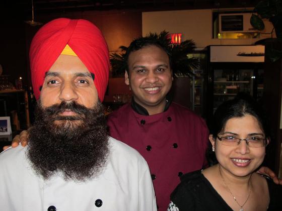 Chef Harbinder Singh, Chef/Owner Roy Abhishek, Roy's wife Lupa