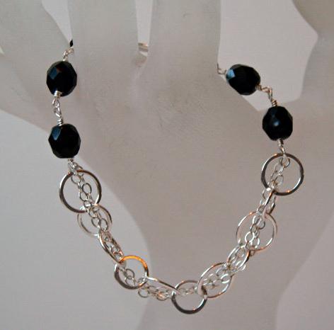 Black Glass Woven Chain Bracelet