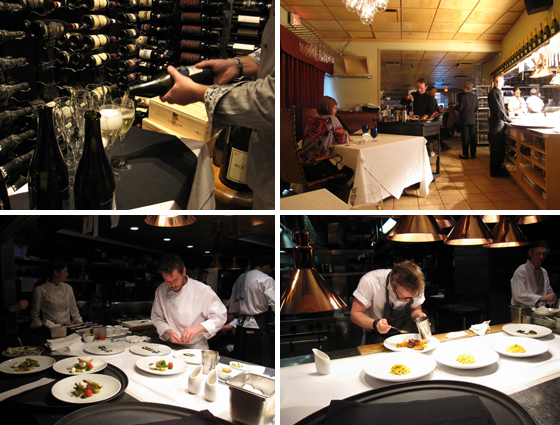 photos of chefs and champagne pouring