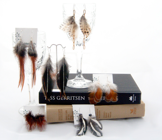 Feather earring collection