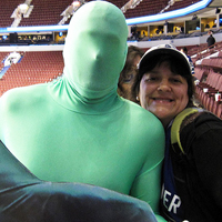 Ariane Colenbrander with Green Men, Rogers Arena, Vancouver