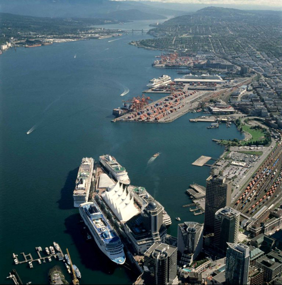 Vancouver ships, aerial photo