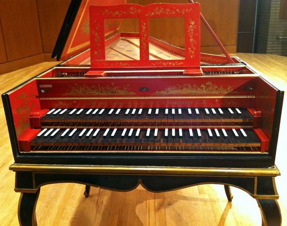 harpsichord on stage at UBC