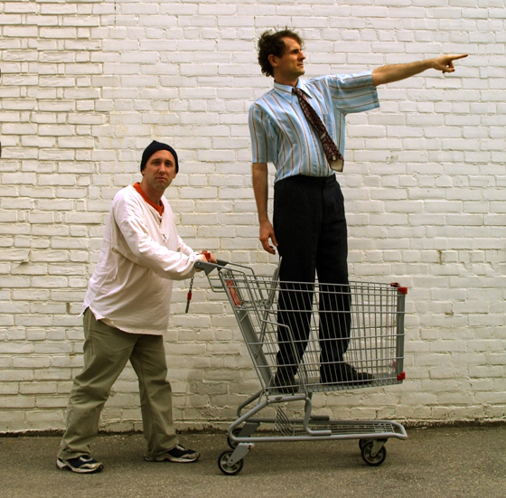 The actors in a shopping cart