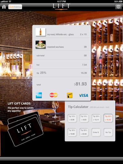 Tip calculator, payment options screen shot