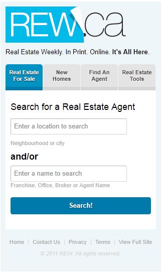 rew.ca mobile search screen