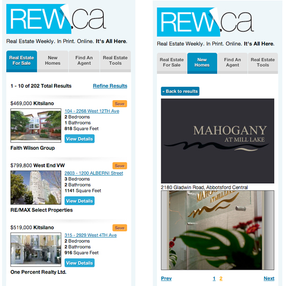 rew.ca mobile screen shots