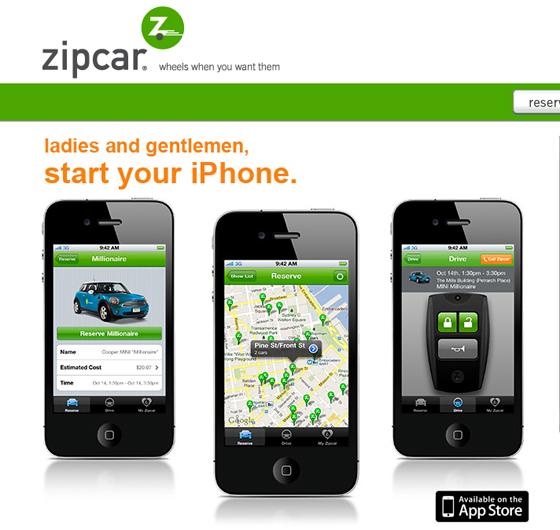 Zipcar app screens