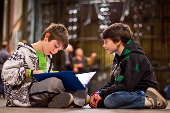 Brothers Jordan and Aidan Wessels studying their lines. Photo by Michael Julian Berz