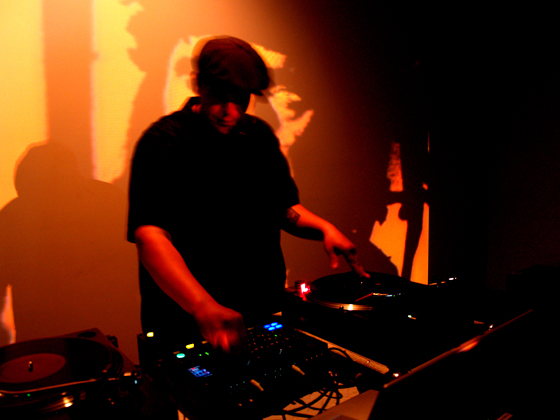 Jackson 2Bears, Iron Tomahawks, 2006-11, live video remix (VJ performance) on turntables using digitally recorded vinyl records, laptop & video projector.