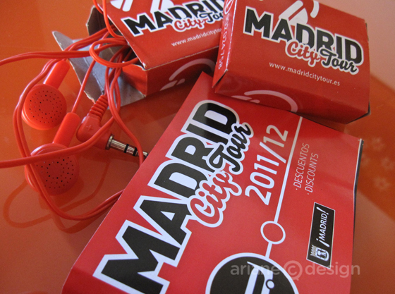 Madrid city tour earphones and discount booklet