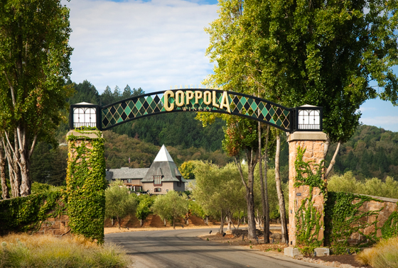 Coppola Winery entrance. Photo credit: Chad Keig