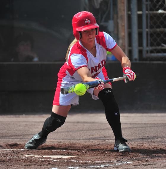 Young lady at bat