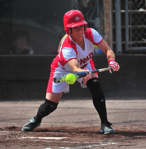 Young lady at bat