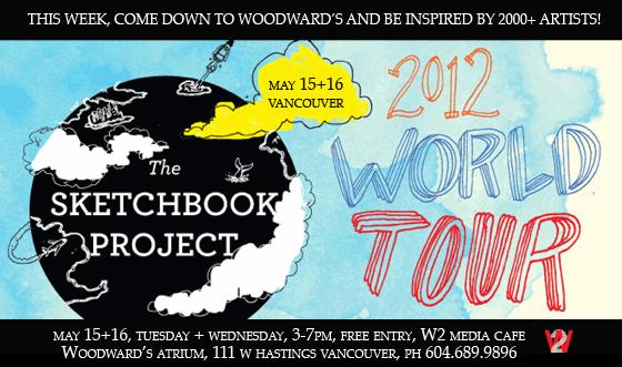 The Sketchbook Project, W2 Woodwards Media Café, sketchbook art, Vancouver, events, 2012