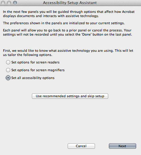Accessibility Setup Assistant screen