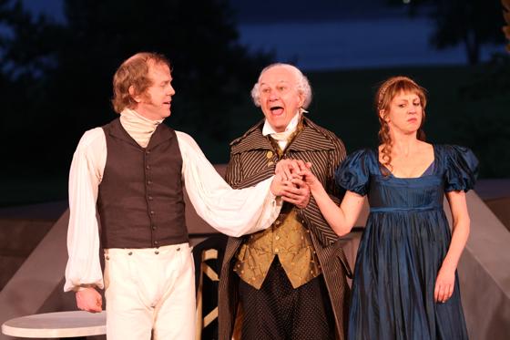 Petruchio (John Murphy), Baptista (Bernard Cuffling), Kate (Lois Anderson)