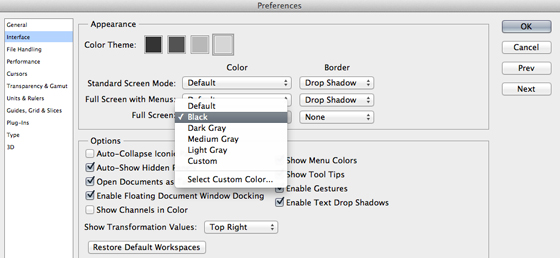 Screen colour preferences