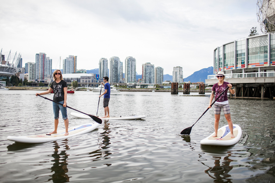 Paddle boarding in False Creek