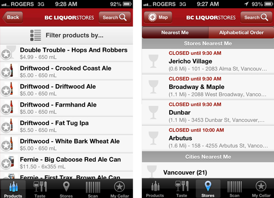 BC Liquor Stores screen shots