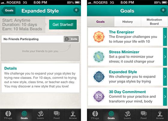YYoga iPhone app screens