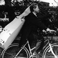 Endellion cellist on bike