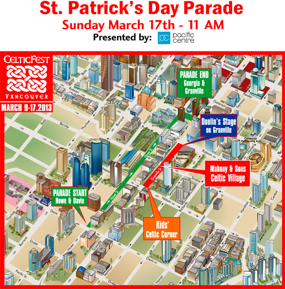St.Patricks Day Parade route