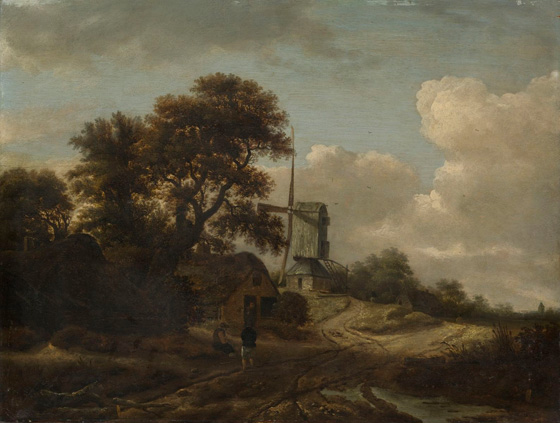 Roelof de Vries, Landscape with Stream and Windmill