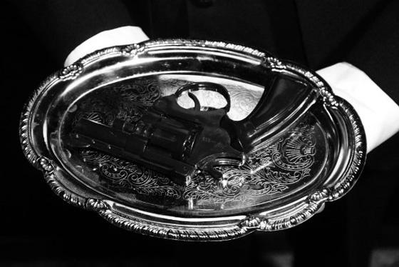 Gun in ashtray