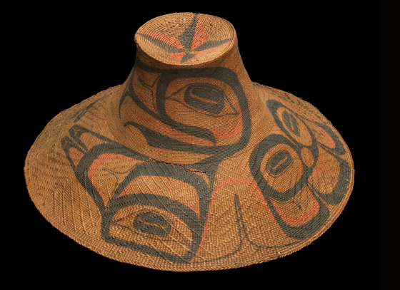 Eagle Hat, c. 1890, spruce root, paint