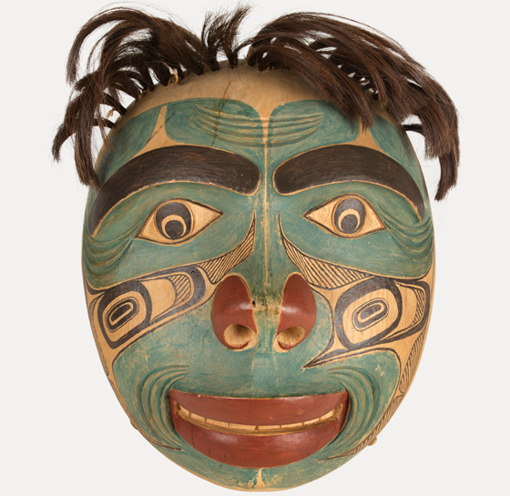Humanoid Mask, 1902, wood, pigment, hair, string