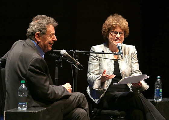 Philip Glass, Eleanor Wachtel; photo by Tim Matheson