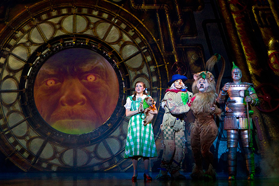Danielle Wade as Dorothy, Jamie McKnight as Scarecrow, Lee MacDougall as Lion, Mike Jackson as Tin Man