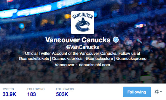 Canucks Twitter account