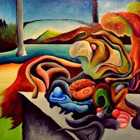 Cody Lecoy, Lions Gate Bridge. Acrylic on canvas 24 x 36 in