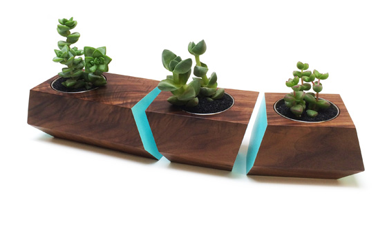 Revolution Design House Boxcar Planter Walnut & Blue
