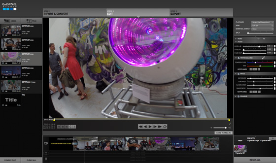 GoPro Studio software editing screen