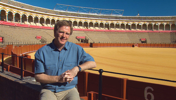 Rick Steves at a bullfight ring, sevilla