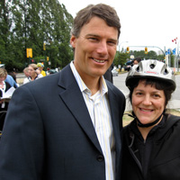 Gregor Robertson and Ariane Colenbrander at Burrard Bridge Bike Lane trials, Vancouver, BC