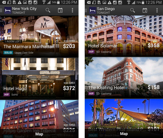 NYC, San Diego hotels on HotelTonight