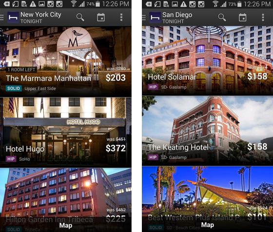 NYC, San Diego hotels on HotelTonight